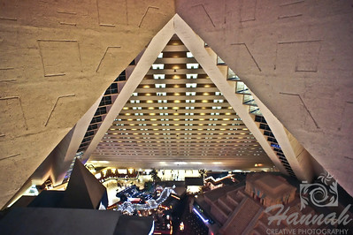 View from the top of Luxor Hotel and Casino in Las Vegas, Nevada.  A pyramid style of architecture.  © Copyright Hannah Pastrana Prieto