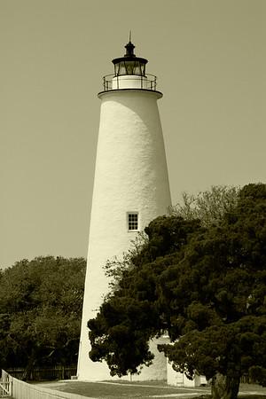 Ocracoke Lighthouse in Sepia Tone