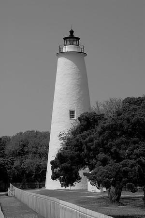 Ocracoke Lighthouse in Black & White