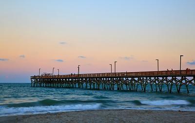 Surfside Pier at Surfside Beach in South Carolina at sunset