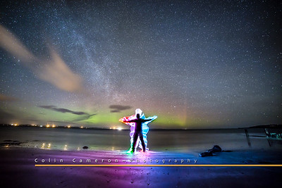 Standing on the Braighe beach looking out to the Northern Lights. Here I 'drew' around myself with a coloured LED lightstick.