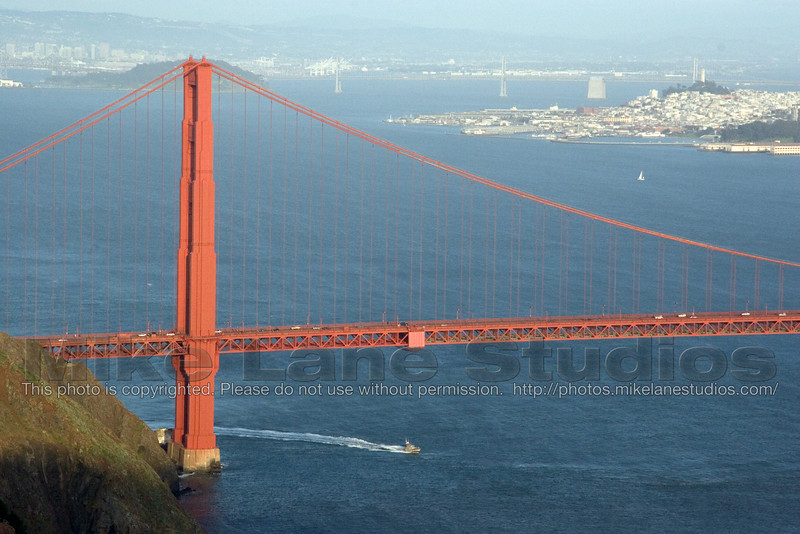 The Golden Gate Bridge as dusk approaches
