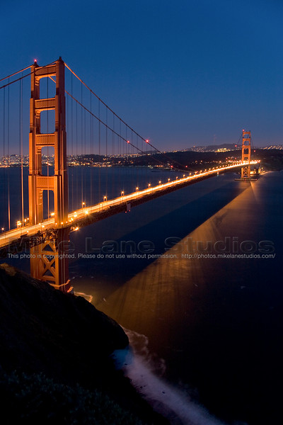 15 second exposure of the Golden Gate Bridge from the Northwest