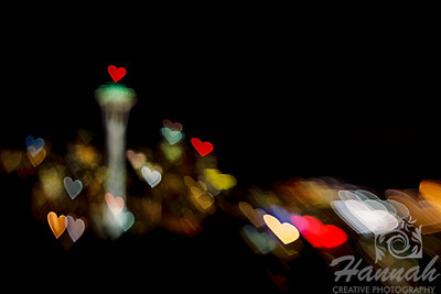 Light Hearts of the Space Needle at Seattle, Washington shot with the lensbaby composer pro and double glass optic with the creative aperture heart disk.  © Copyright Hannah Pastrana Prieto
