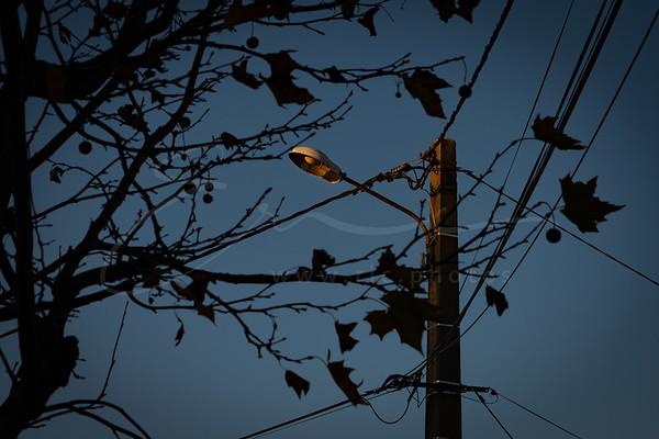 coucher du soleil contre l'éclairage public   sunset vs. street lamp