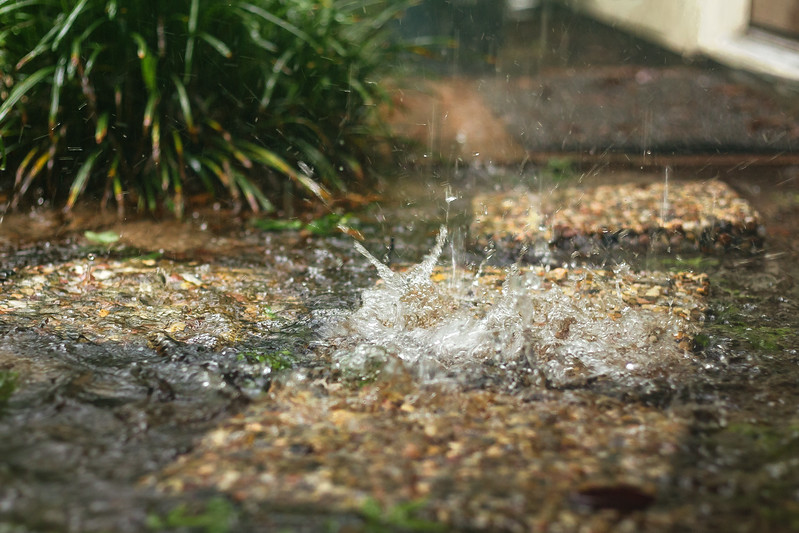 Rain drops right off the back door.