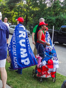 Now that's a Trump supporter for sure! :-) She selling hats and shirts.