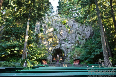 """The Grotto Cave""	             	It is located in Portland, Oregon and is approximately 30 feet wide, 30 feet deep and almost 50 feet high.  It was carved out of the face of the cliff back in 1923 and a replica of Michelangelo's 'Pieta', the statue of the Virgin Mother holding Jesus in her arms was placed at the altar.  © Copyright Hannah Pastrana Prieto"