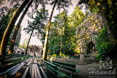 "The outdoor church pews at ""The Grotto"" Portland, Oregon  © Copyright Hannah Pastrana Prieto"