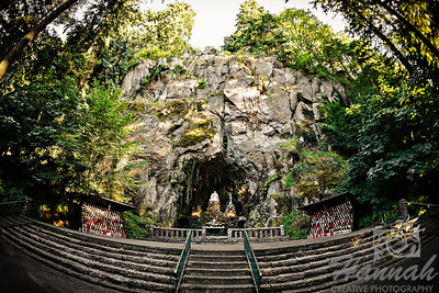 """""""The Grotto Cave""""             It is located in Portland, Oregon and is approximately 30 feet wide, 30 feet deep and almost 50 feet high.  It was carved out of the face of the cliff back in 1923 and a replica of Michelangelo's 'Pieta', the statue of the Virgin Mother holding Jesus in her arms was placed at the altar.  © Copyright Hannah Pastrana Prieto"""