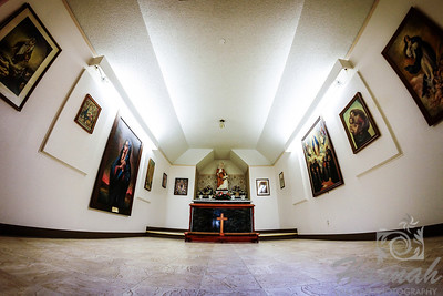 "The interior of St. Anne's Chapel at ""The Grotto"" in Portland, Oregon This mini chapel, which was built in 1934 honors St.Anne who is the mother of Mary.  It is the house of numerous Madonna paintings from many countries.  © Copyright Hannah Pastrana Prieto"