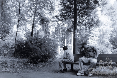 "Father and son meditating at 'The Peace Garden' located at the botanical gardens of ""The Grotto"" in Portland, Oregon  © Copyright Hannah Pastrana Prieto"