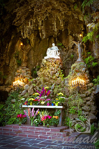 """The Grotto""	             	It is located in Portland, Oregon and is approximately 30 feet wide, 30 feet deep and almost 50 feet high.  It was carved out of the face of the cliff back in 1923 and a replica of Michelangelo's 'Pieta', the statue of the Virgin Mother holding Jesus in her arms was placed at the altar.  © Copyright Hannah Pastrana Prieto"