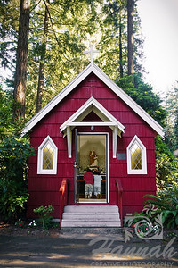 """Father and son praying at St. Anne's Chapel at """"The Grotto"""" in Portland, Oregon  © Copyright Hannah Pastrana Prieto"""