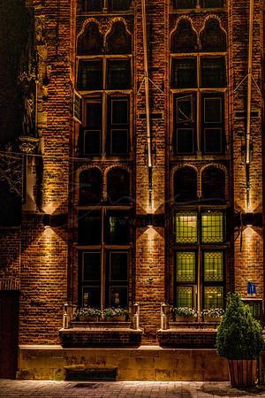 the illuminated façade