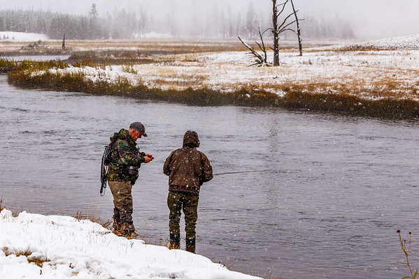 The September Snow in Yellowstone - Fishing in the Firehole River