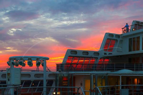 sunset at the port of Hamburg, Germany