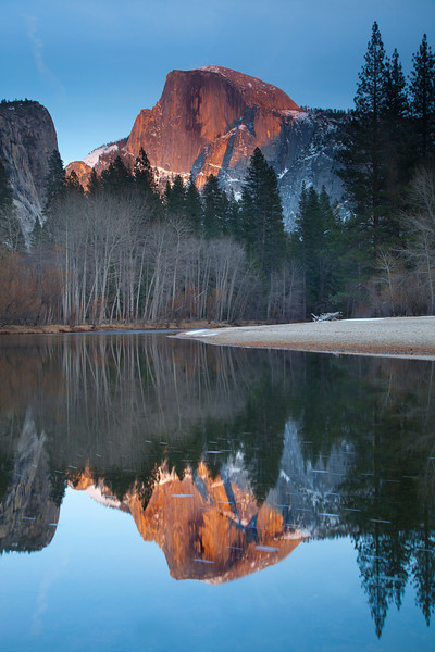 Halfdome at Sunset, reflected in Mirror Lake