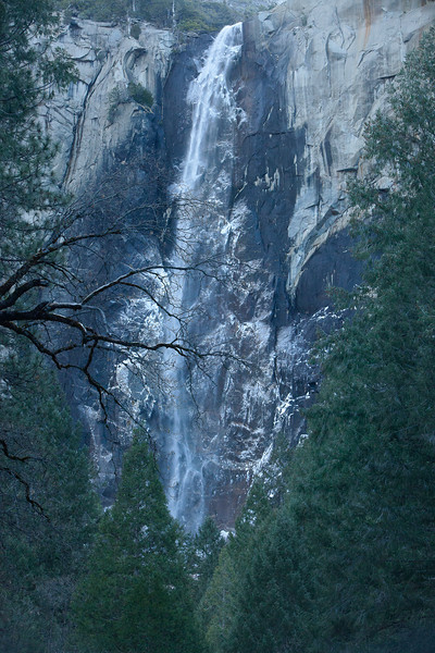 Bridalveil Falls with ice on the rocks from the mist of the falls.