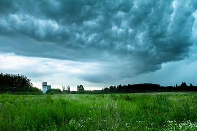 Storm clouds over grain elevators in St. Albert, Alberta, Canada.