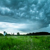 Storm clouds over grain elevators in St. Albert, Alberta, Canada.
