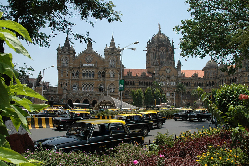 Bombay, India The central train station in downtown Bombay.