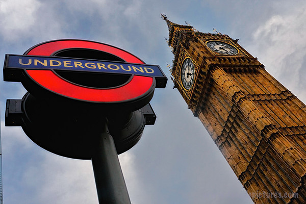Two of London's best-known features - the Underground Tube and Big Ben.