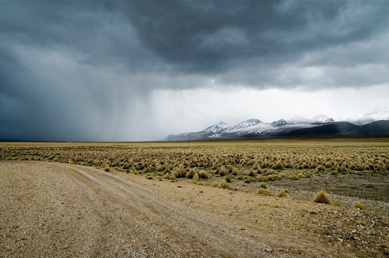 Chile/Bolivian Border The moody skies of the Bolivian Andes.  Near the high altitude (15,000 feet) border crossing.
