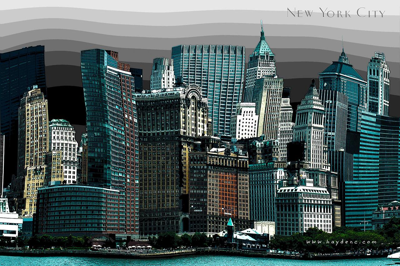 Warped perspective of New York City Skyline