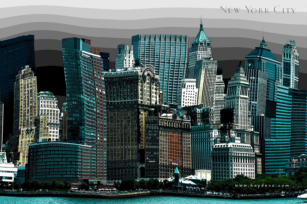 Warped perspective of New York City Skyline