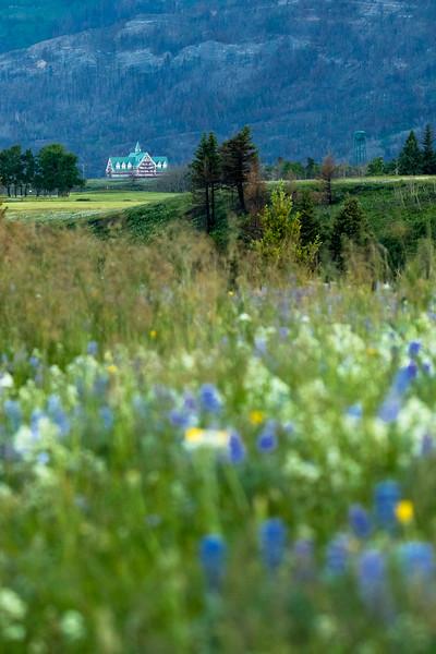 Prince of Wales hotel and Waterton watertower in Waterton Lakes National Park, Alberta, Canada.