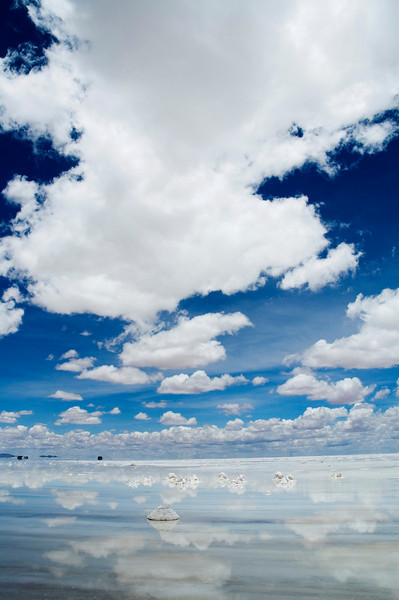 Uyuni, Bolivia The endless clouds of the Bolivian Salt Flats Located in Southwestern Bolivia, Salar de Uyuni is the largest salt flat in the world at 4,085 square miles (10582 square km).