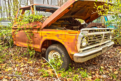 Old Orange Ford Truck