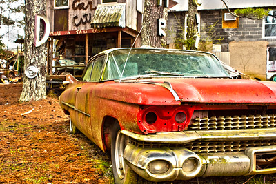 Antique Red Rusty Cadillac