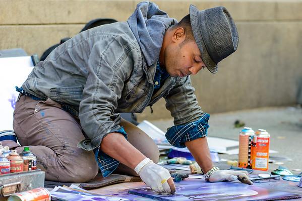 Street Artist, Karl Johans Gate, Oslo Norway