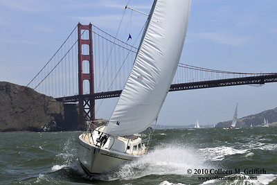 San Francisco Bay Sailing ©  2010 Colleen M. Griffith. All Rights Reserved.  This material may not be published, broadcast, modified, or redistributed in any way without written agreement with the creator.  This image is registered with the US Copyright Office. www.colleenmgriffith.com www.facebook.com/colleen.griffith  Sailing just outside the Golden Gate Bridge in San Francisco is exhilarating - the changing tides, ocean swells, and windy conditions generally make for some rough conditions.