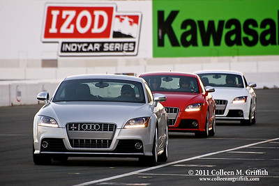 The Audi Sportscar Experience ©  2011 Colleen M. Griffith. All Rights Reserved. This material may not be published, broadcast, modified, or redistributed  without written agreement with the creator.   This image is registered with the US Copyright Office. www.colleenmgriffith.com www.facebook.com/colleen.griffith  I captured this photo at a corporate outing to the Infineon Raceway.  It's a professional course and NASCAR's 23rd consecutive visit to the Sonoma Valley raceway is headlining the 2011 racing season. The seven-race major event schedule, one of the most comprehensive in the country, will be highlighted by three of the top racing series in the country - the NASCAR Sprint Cup Series, NHRA Full Throttle Drag Racing Series and IZOD IndyCar® Series.  More than one-half million fans pass through the gates each year.  The road course features more than 160 feet of elevation change from its highest to lowest points. The highest point at Turn 3a reaches 174 feet, while the lowest point at Turn 10 is just 14 feet.