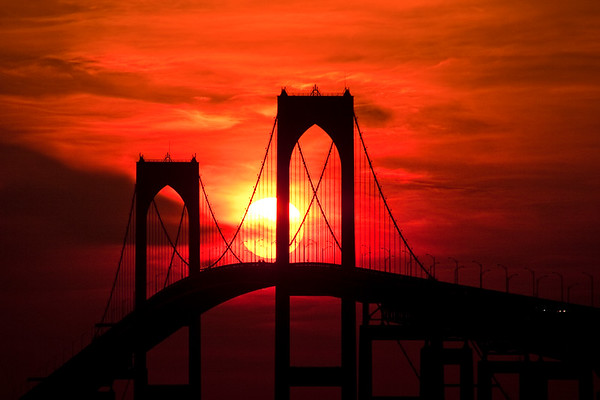 Newport Pell Bridge Silhouette, RI.