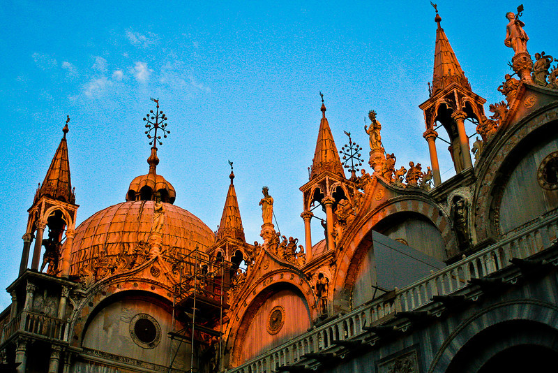 Sun setting on Doge's Palace - Palazzo Ducale, Venice, Italy