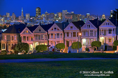 The Painted Ladies Are Moody At Night ©  2010 Colleen M. Griffith. All Rights Reserved.  This material may not be published, broadcast, modified, or redistributed in any way without written agreement with the creator.  This image is registered with the US Copyright Office. www.colleenmgriffith.com www.facebook.com/colleen.griffith  You can see more of my San Francisco photos, by going to my San Francisco gallery: www.colleenmgriffith.com/Galleries/San-Francisco/San-Francisco