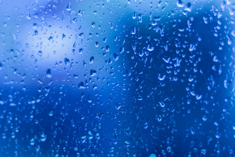 Droplets on Glass Blue