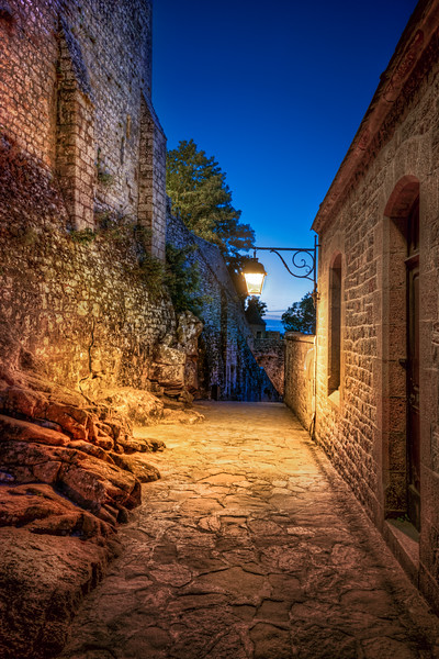 Mont Saint Michel lonely street at night