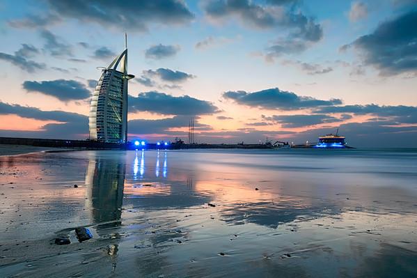 Sunset Over The Burj Al Arab    Dubai UAE