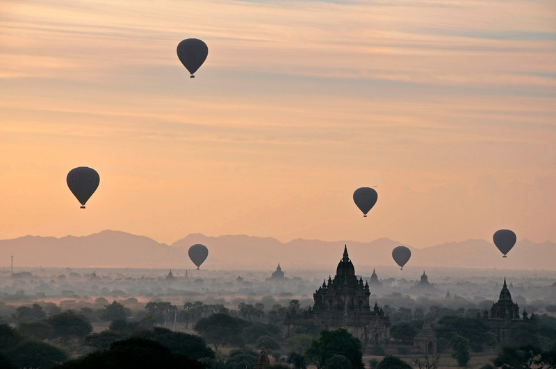 Hot Air Balloon Sunrise over Bagan, Burma