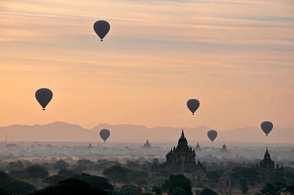 Hot Air Balloon Sunrise over Bagan, Burma