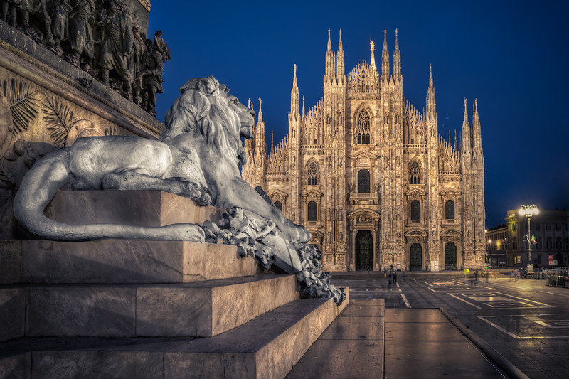 Lion Watching the Cathedral in Milano