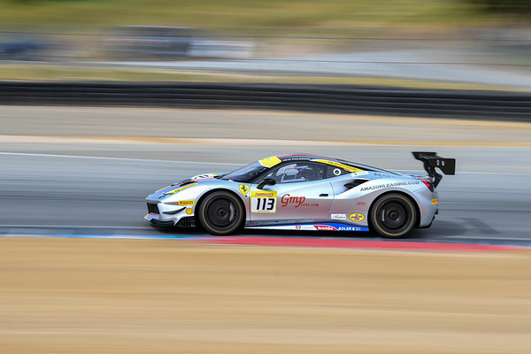 Geoff Palermo in the Ferrari of San Francisco 488 accelerating out of T5