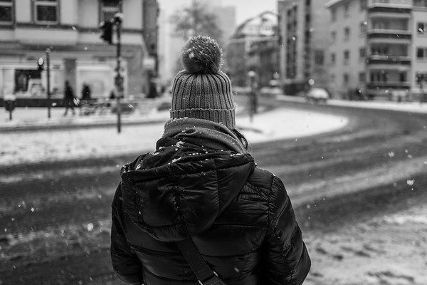 Rear view of girl with winter hat in Frankfurt
