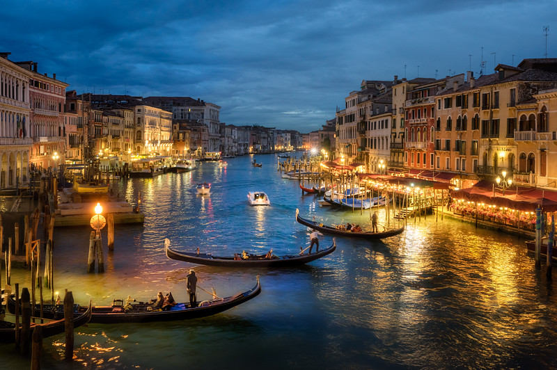 Three Gondolas seen from Rialto Bridge