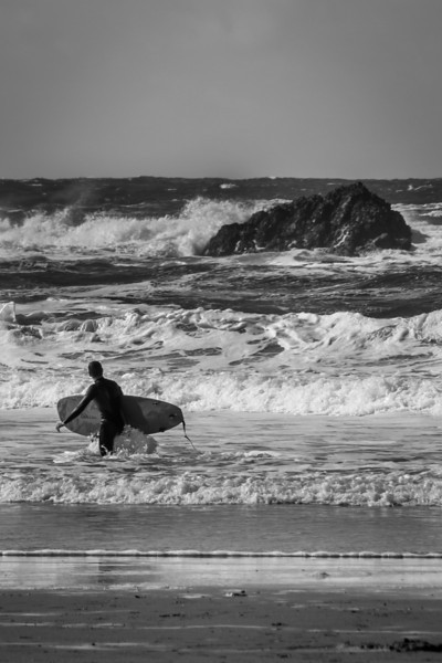 Black and White Surfer